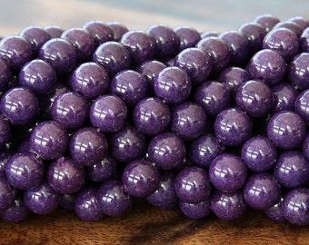 Mountain Jade Beads, Eggplant Purple, 8mm Round - 15 Inch Strand - eMJR-M12-8