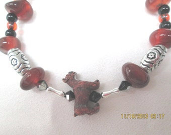 Boxer dog  bracelet red-brown