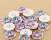 10 pcs 0.49 inch Blue Pink White 4 Hole Resin Shell Buttons for Kids Shirts Sweaters
