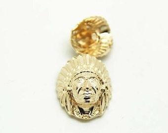 6 pcs 0.51~0.79 inch Retro Gold Indian Head Metal Shank Buttons for Suits Coats