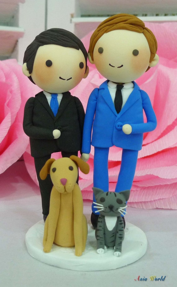 wedding cake toppers same sex couples wedding cake topper with and cat clay dollsame 26592