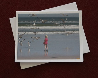 Girl With Sea Gulls / Photo card /  Little Girl On Beach / Blonde Girl On Beach / Free US Shipping