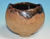 Ceramic Tea Bowl, chawan, with organic shape, oxides stains on the outside and Temoku glaze inside
