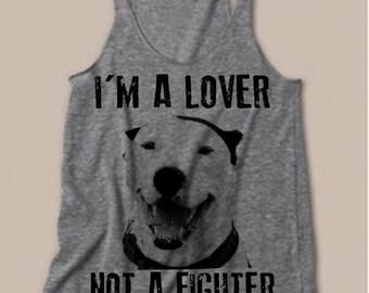 Womens PITBULL I'm a Lover not a Fighter Tri Blend Tank Top American Alternative Apparel Gray, Blue Pit Bull S M L XL