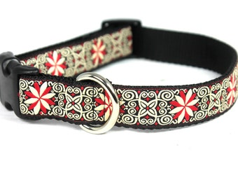 "1"" Adjustable Dog Collar, Buckle Collar, Red and Vanilla"