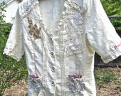 VINTAGE LACY GYPSY Blouse, Feminine Upcycled Collage Top, Funky Boho Bohemian Top, Shabby Chic Style Top, Ultra-Feminine, Sz Sm
