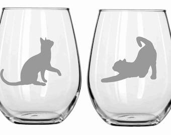Sand Etched Cat Glass  Choose from Wine, Stemless Wine, Pub, Pilsner, Beer Mug, Coffee Mug, Rocks FREE Personalization