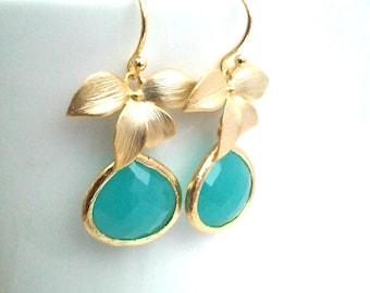 Mint Blue Wedding Earrings, Bridesmaid Gift, Wedding Jewelry,Bridesmaid Jewelry,Bridal Jewelry,Drop Earrings, Glass Dangle Earrings