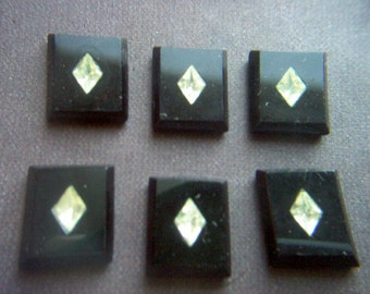 Vintage Jet Glass Flat Backed with Diamond Crystal Center Cabochons x 6    # EEE 13