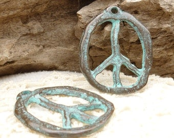 Large, Rustic, Patina Peace Sign Charm Pendant, Mykonos Casting Beads (1) - M30