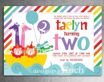 Noah's Ark Rainbow Birthday Invitation, 2nd Birthday Party, First Birthday, Customizable #129