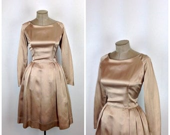 50s Light Brown Satin Fit and Flare Party Dress • 1950s Formal Couture Tan Cocktail Dress • Full Skirt • Long Sleeve • Medium