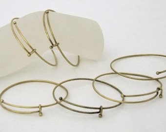 Antique Brass Expandable Bracelets 2.5 To 3 Inch 6 Pack SALE While Supplies Last
