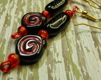 Earrings red and black dangle Cardinal colors vintage beads Czech glass
