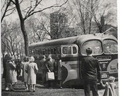 Old Photo People getting on Bus saying Goodbye to People 1940s Photograph snapshot Bus Trip vintage