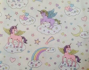 Cute Unicorn Print Japanese Fabric White - 110cm x 50cm