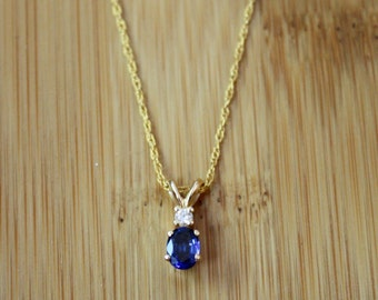 Sapphire and Diamond Pendant on 14k Gold Chain - Fine Jewelry