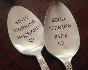Good Morning Husband and Wife    Spoons Hand Stamped Vintage Silverplate