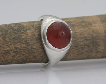 Carnelian and sterling silver band, size 4 1/4, #487.
