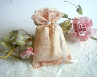 50 Vintage Favor Bags, Peach  Lace Favor Bags,Baptism lace bags