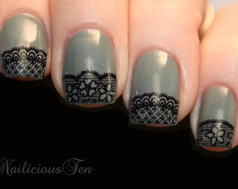 Black Lace Nail Wraps Daisy Art Water Transfer Decal So Beautiful ST8064