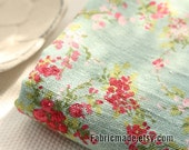 Flower Linen Cotton Fabric Pink Rose On Vintage Green Shabby Chic Fabric Flower - 1/2 yard