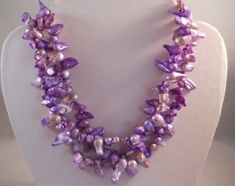 3 strand Purple Fresh Water Pearl Necklace