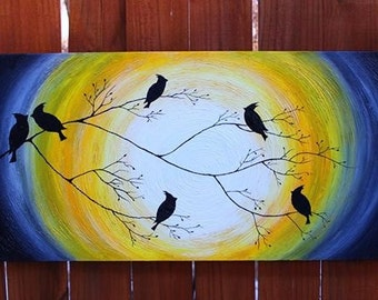 """Grey and Yellow family of cardinals in the Sunrise/Sunset on a Tree Limb, Texture Abstract acrylic painting 12"""" by 30"""""""