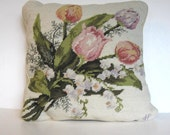 Vintage floral hand stitched needlepoint accent pillow, Home and Living, home decor, artist signed, wool on canvas