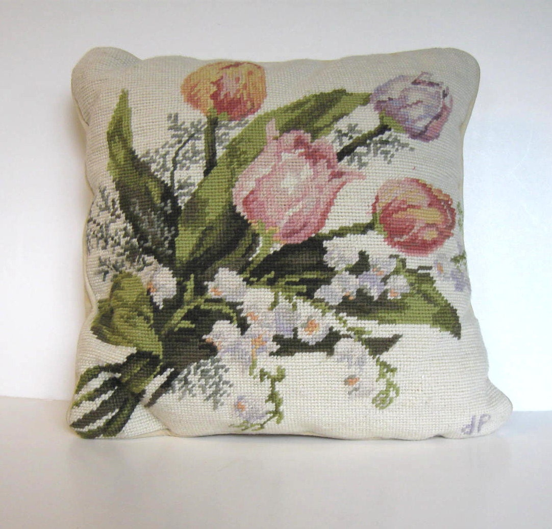 Vintage Floral Hand Stitched Needlepoint Accent Pillow Home