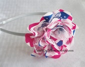 Patriotic Girls Headband Red White Blue Flower Baby