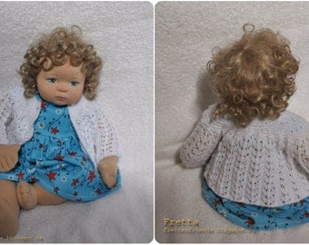 "Fretta's 16"" OOAK Cloth over Clay Little Girl Doll with Soft Sculptured body."