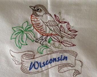 Wisconsin State Bird Robin Embroidered 100% Cotton Kitchen Flour Sack Towel