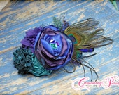 Peacock Feather Hair Piece, Teal, Purple, Jewel Tone Headband, Royal Blue, Turquoise, Bridesmaid Hair, Fabric Flower Clip, Bridal Hair Piece