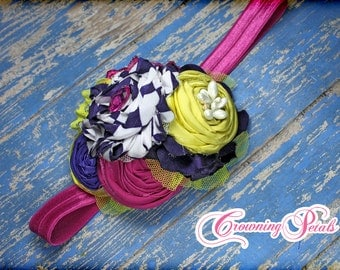 Fuchsia, Dark Purple, Lime Flower Headband, Baby Girl Hair Accessory, Girls Headband, Purple, White Hair Clip, Baby Fabric Flower Headband