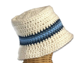 Baby Bucket Hat, Infant Hat, Off White with Stripe