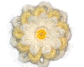 Crochet Flower Brooch, White, Yellow