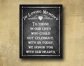 In Loving Memory Wedding Sign - PRINTED chalkboard wedding signage - Rustic Heart Design