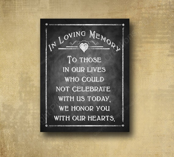In loving memory wedding sign printed memorial by for In loving memory wedding sign