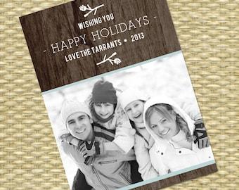 Rustic Christmas Photo Card - DIY Printable, Holiday - Wood Grain