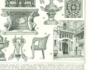 1922 French art vintage print French Antique French furniture styles French louis XV furniture Louis XVI furniture Empire furniture  Modern