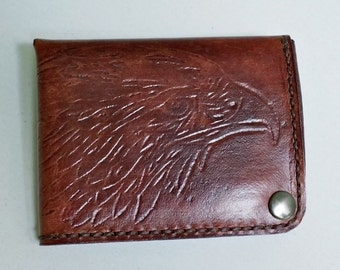 Brown leather wallet with embossed eagle, leather billfold