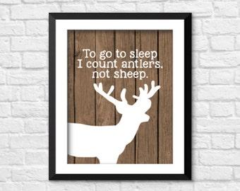 To go to sleep, I count antlers not sheep, Wood Deer Antlers Silhouette Prints, deer antlers home decor, nursery deer prints, antlers art