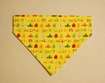Pet Bandana  Fall Leaves Medium Slide On the Collar Be Thankful and Happy Fall Yellow