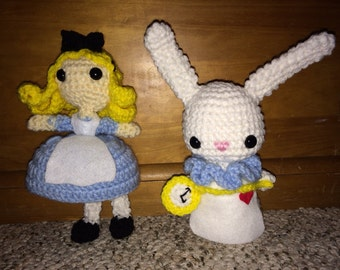 Crochet Alice and White Rabbit set