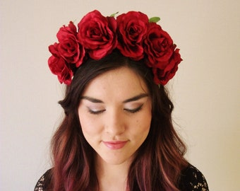 Red Rose Flower Crown - floral headband, floral crown, wreath, fascinator, festival, rose crown, day of the dead, halloween, frida kahlo