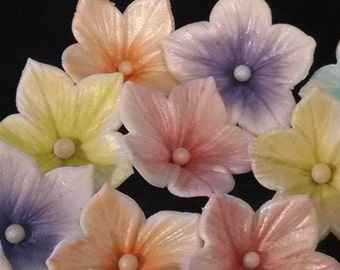 28 Edible BLOSSOM / PETUNIA flowers /any color / Gum Paste / fondant flowers / sugar flowers / cake  decorations / cake or cupcake topper