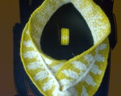 Infinity Scarf hand knit in ochre and white %100 wool yarn and lightly felted