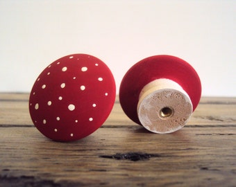 "Mushroom Doorknobs - Wooden Dresser Drawer Knob - Hand Painted Wood Cabinet Cupboard Knobs - Polka Dot Fairy Door Knob - 1 1/2"" Knob"