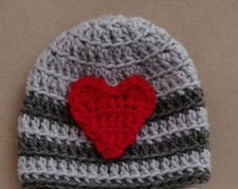 Valentine's Day beanie hat - Crochet Valentine's beanie hat - charcoal and light gray striped  w/ red heart